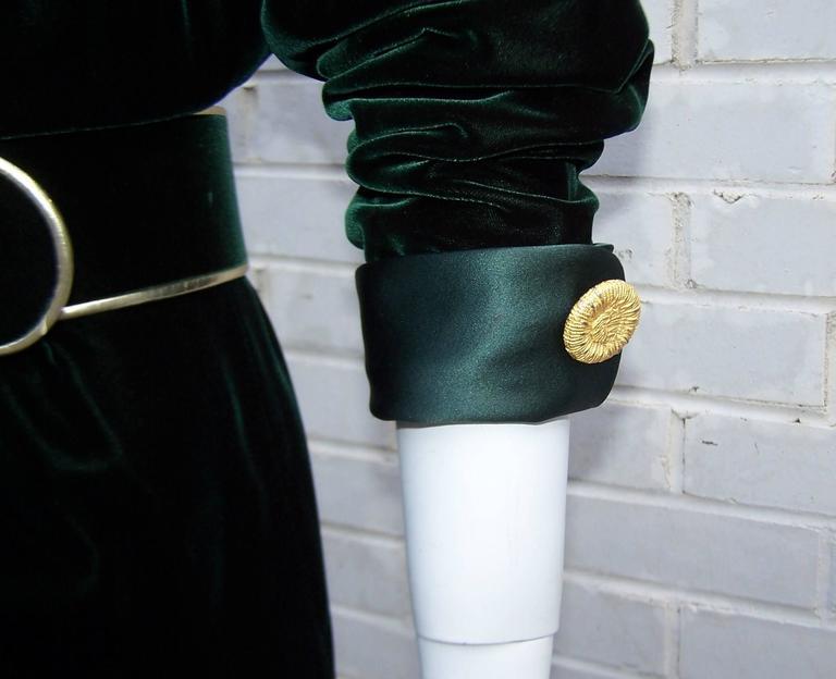1980's Donna Karan for Anne Klein Rich Green Velvet Dress With Gold Details For Sale 5