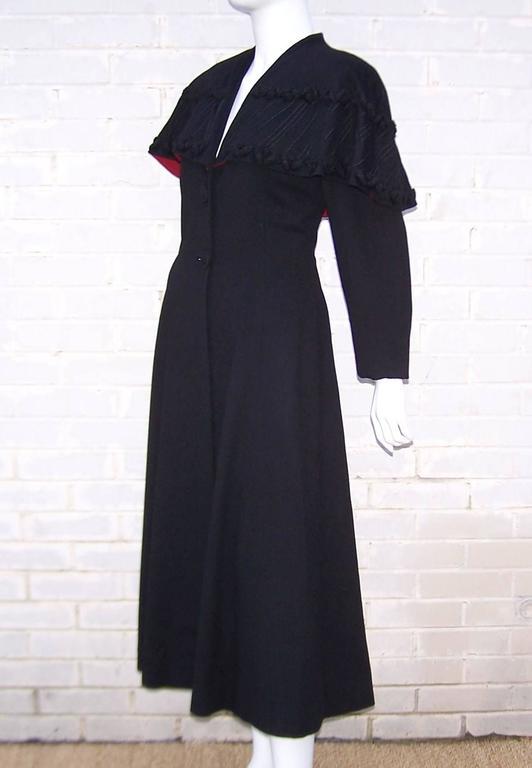 Black 1940's Eisenberg Victorian Style Capelet Princess Coat For Sale