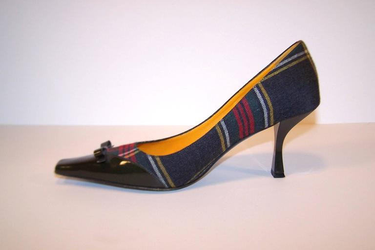 Mad For Plaid 1990's Moschino Wool Pumps With Gray Patent Leather Details 4