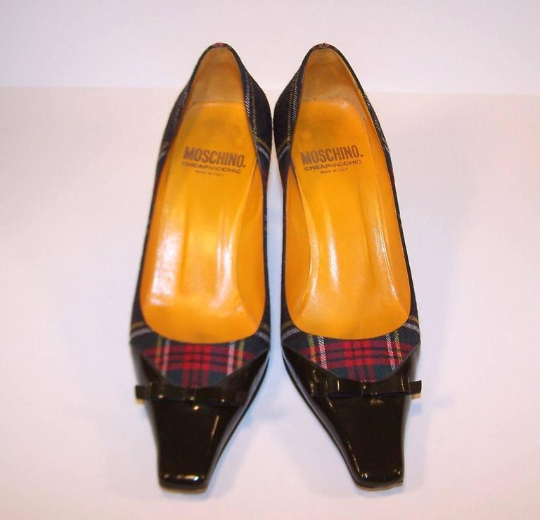 Mad For Plaid 1990's Moschino Wool Pumps With Gray Patent Leather Details 6