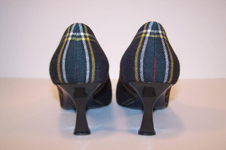 Mad For Plaid 1990's Moschino Wool Pumps With Gray Patent Leather Details 8