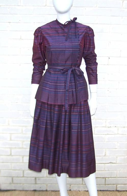 Fetching C.1980 Albert Nipon 2-Piece Victorian Style Plum Dress 3