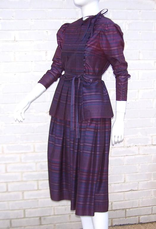 Fetching C.1980 Albert Nipon 2-Piece Victorian Style Plum Dress 4