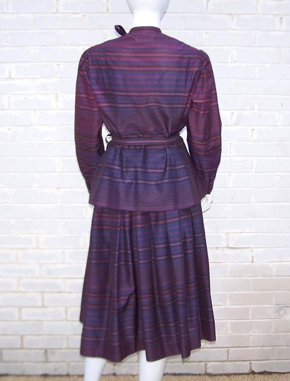 Fetching C.1980 Albert Nipon 2-Piece Victorian Style Plum Dress 5