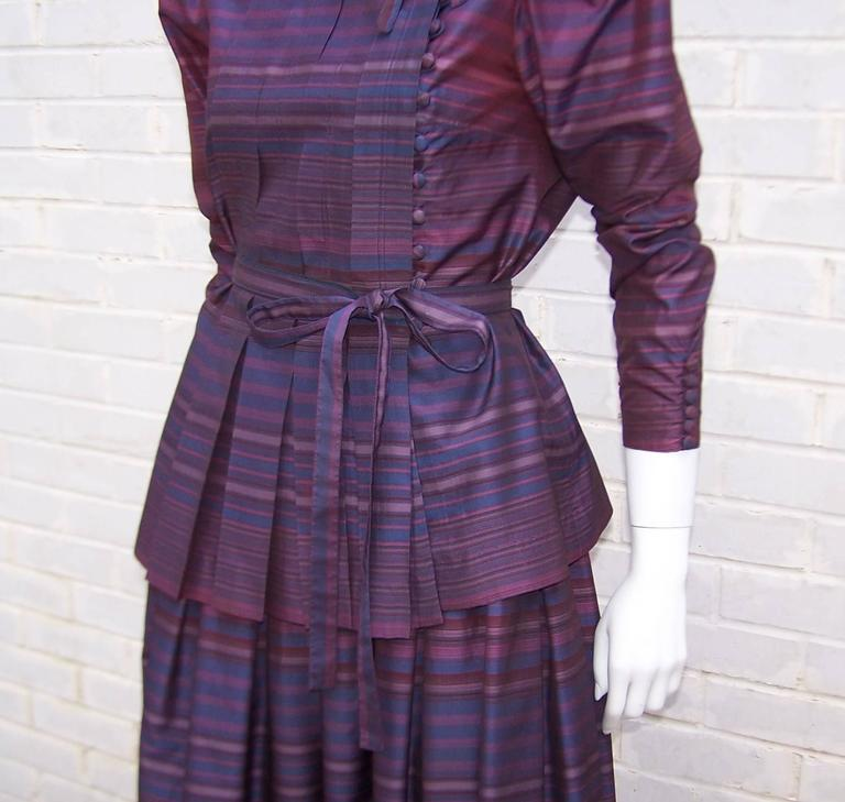 Fetching C.1980 Albert Nipon 2-Piece Victorian Style Plum Dress 8