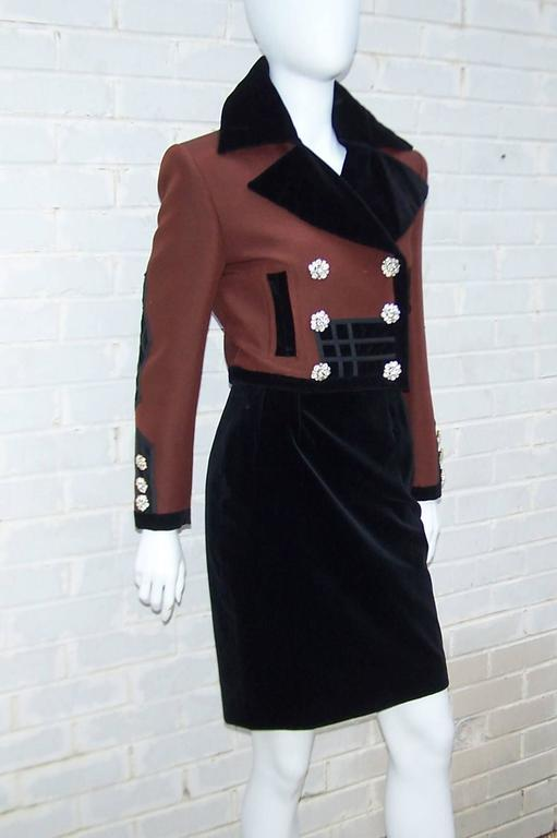 Black C.1990 Christian LaCroix Military Inspired Velvet Suit With Rhinestone Buttons For Sale