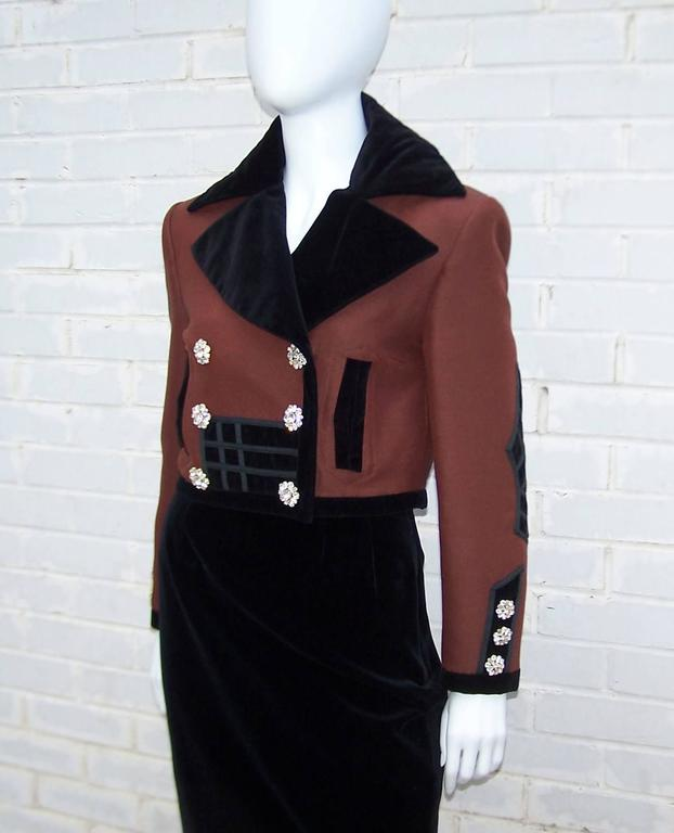 Women's C.1990 Christian LaCroix Military Inspired Velvet Suit With Rhinestone Buttons For Sale
