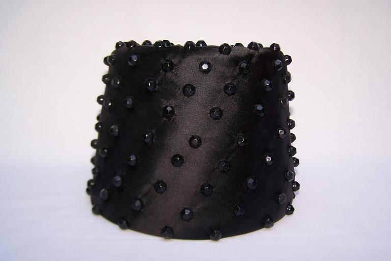 Exotic C.1960 Sally Victor Beaded Black Satin Fez Style Hat 7