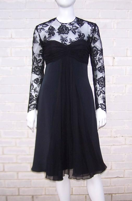 Oh the charm of a little black dress!  Every wardrobe needs a 'go to' dress for special occasions and this Adele Simpson black silk number never goes out of style.  It has just the right amount of details to give it something special though it is