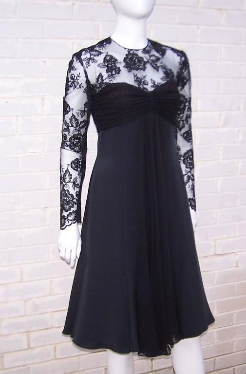 Ladylike C.1980 Adele Simpson Black Silk Cocktail Dress With Lace Bodice In Excellent Condition For Sale In Atlanta, GA
