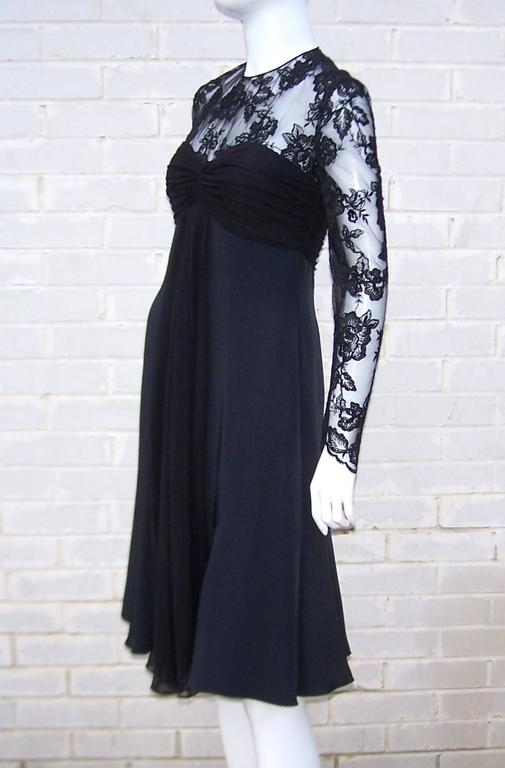 Women's Ladylike C.1980 Adele Simpson Black Silk Cocktail Dress With Lace Bodice For Sale