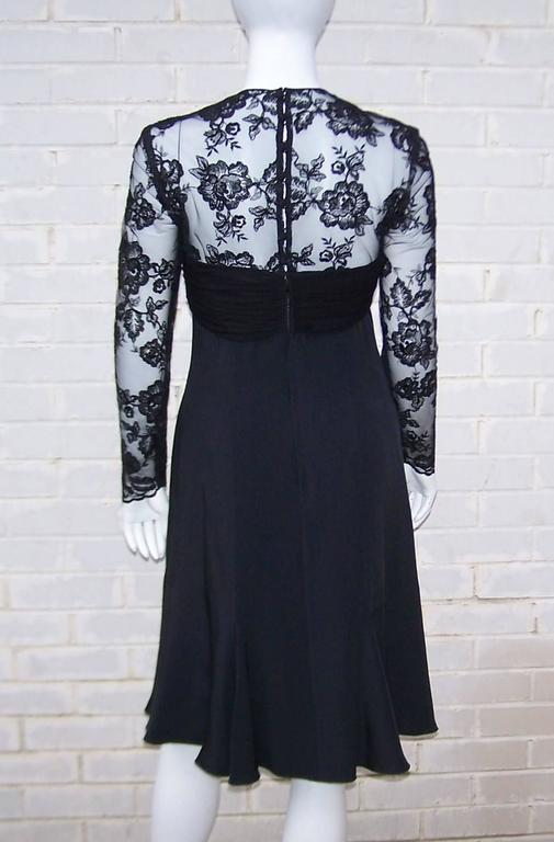 Ladylike C.1980 Adele Simpson Black Silk Cocktail Dress With Lace Bodice For Sale 2