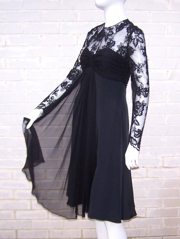 Ladylike C.1980 Adele Simpson Black Silk Cocktail Dress With Lace Bodice For Sale 1