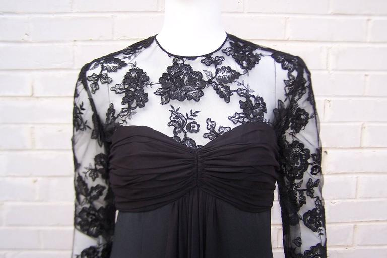 Ladylike C.1980 Adele Simpson Black Silk Cocktail Dress With Lace Bodice For Sale 3