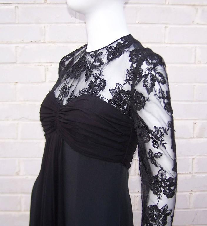 Ladylike C.1980 Adele Simpson Black Silk Cocktail Dress With Lace Bodice For Sale 4