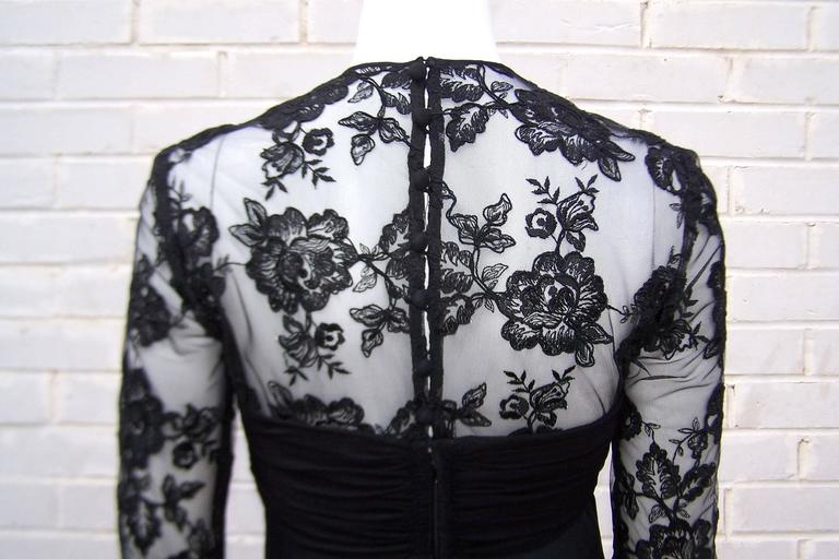 Ladylike C.1980 Adele Simpson Black Silk Cocktail Dress With Lace Bodice For Sale 5