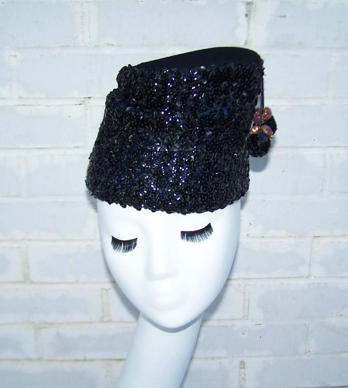 Glam 1940's Henry Pollak Black Sequin Turban Hat With Pom Poms 2