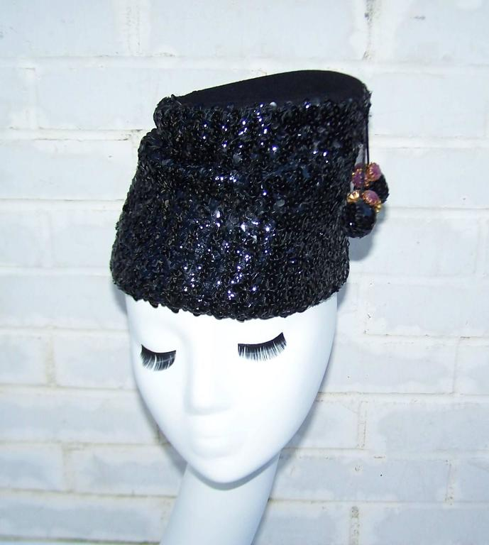 Glam 1940's Henry Pollak Black Sequin Turban Hat With Pom Poms In Excellent Condition For Sale In Atlanta, GA