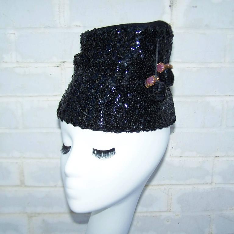 Women's Glam 1940's Henry Pollak Black Sequin Turban Hat With Pom Poms For Sale