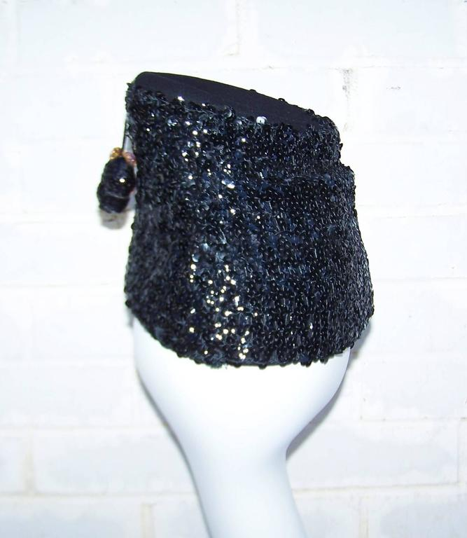 Glam 1940's Henry Pollak Black Sequin Turban Hat With Pom Poms For Sale 1