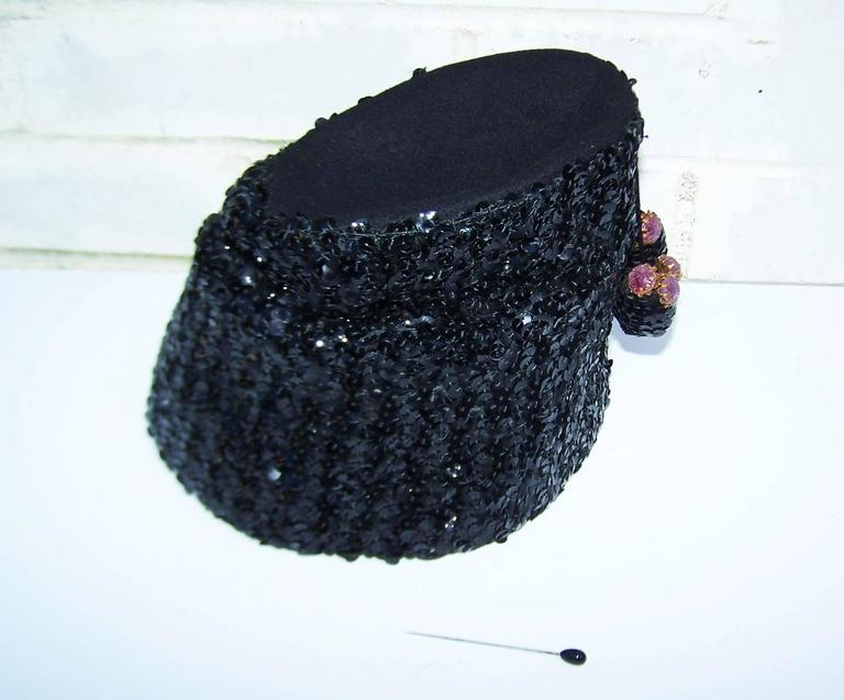 Glam 1940's Henry Pollak Black Sequin Turban Hat With Pom Poms For Sale 3