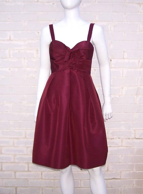 C.2000 Oscar de la Renta Aubergine Silk Taffeta Princess Dress 2