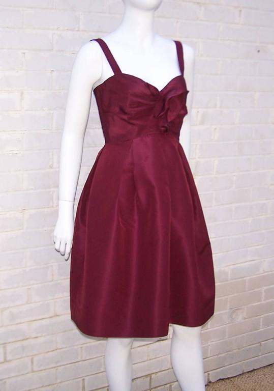 C.2000 Oscar de la Renta Aubergine Silk Taffeta Princess Dress 3