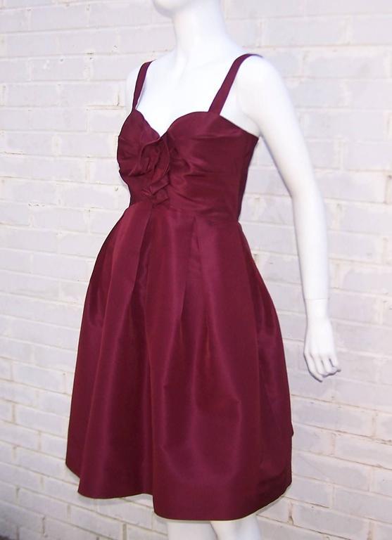 C.2000 Oscar de la Renta Aubergine Silk Taffeta Princess Dress 4