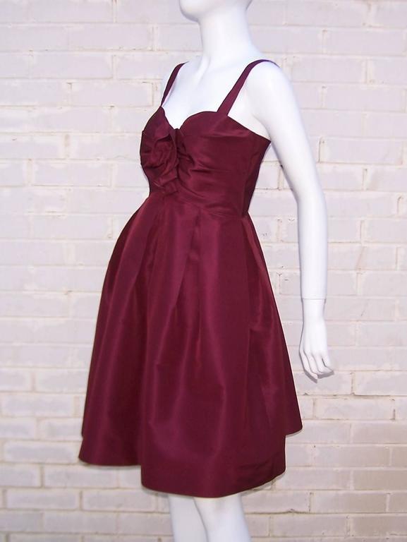 C.2000 Oscar de la Renta Aubergine Silk Taffeta Princess Dress 6