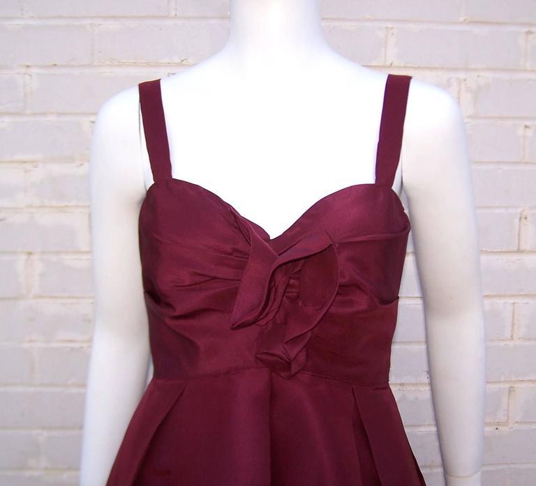 C.2000 Oscar de la Renta Aubergine Silk Taffeta Princess Dress 7