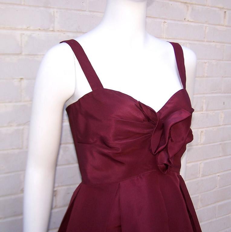 C.2000 Oscar de la Renta Aubergine Silk Taffeta Princess Dress 8