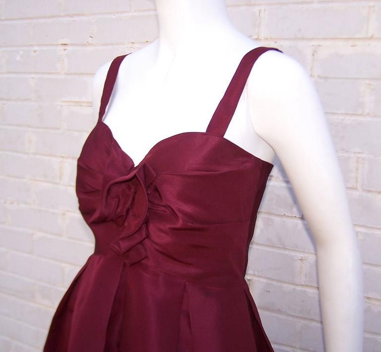 C.2000 Oscar de la Renta Aubergine Silk Taffeta Princess Dress 9