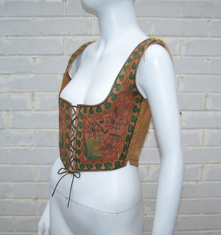 Brown Early 1970's Char Hand Painted Leather Lace Up Corset Vest For Sale