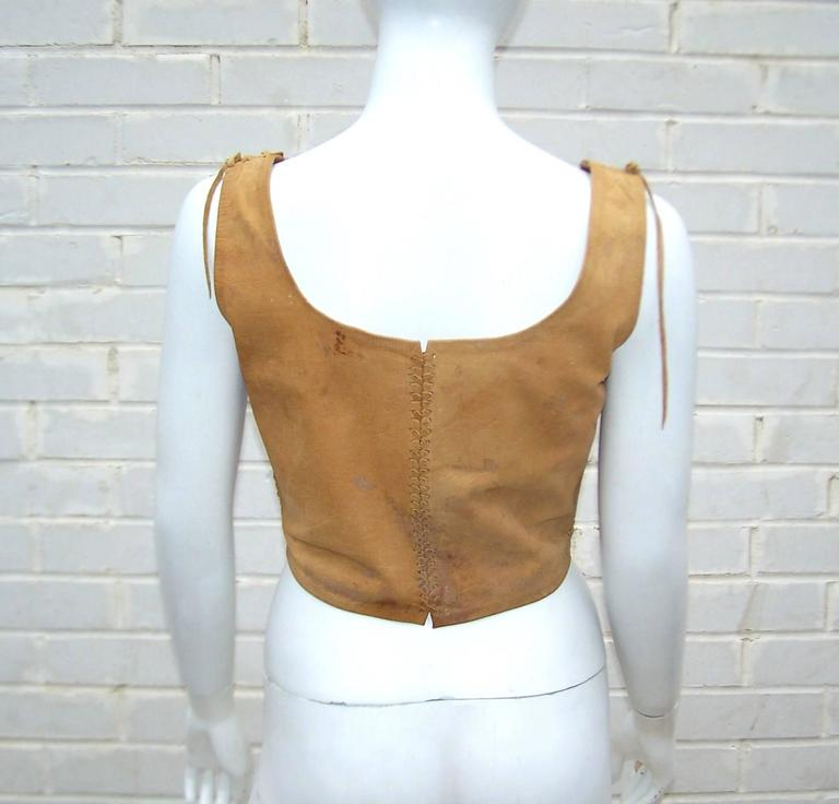 Early 1970's Char Hand Painted Leather Lace Up Corset Vest 4