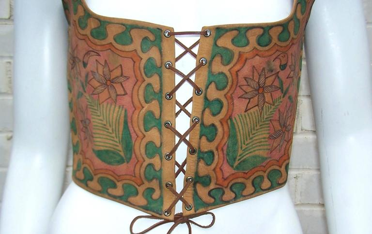Early 1970's Char Hand Painted Leather Lace Up Corset Vest 5