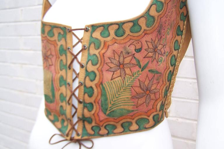 Early 1970's Char Hand Painted Leather Lace Up Corset Vest For Sale 1