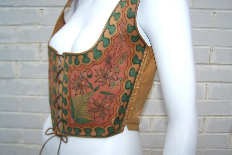 Early 1970's Char Hand Painted Leather Lace Up Corset Vest 7