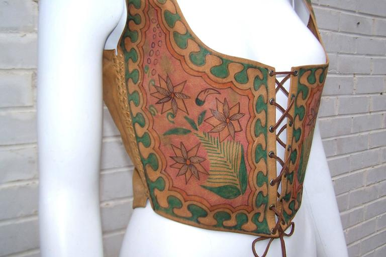 Early 1970's Char Hand Painted Leather Lace Up Corset Vest For Sale 3