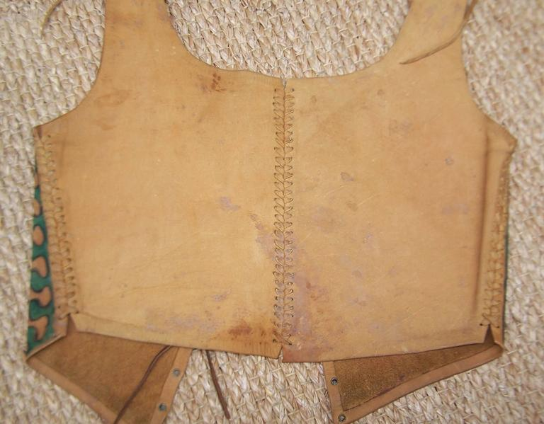 Early 1970's Char Hand Painted Leather Lace Up Corset Vest 9
