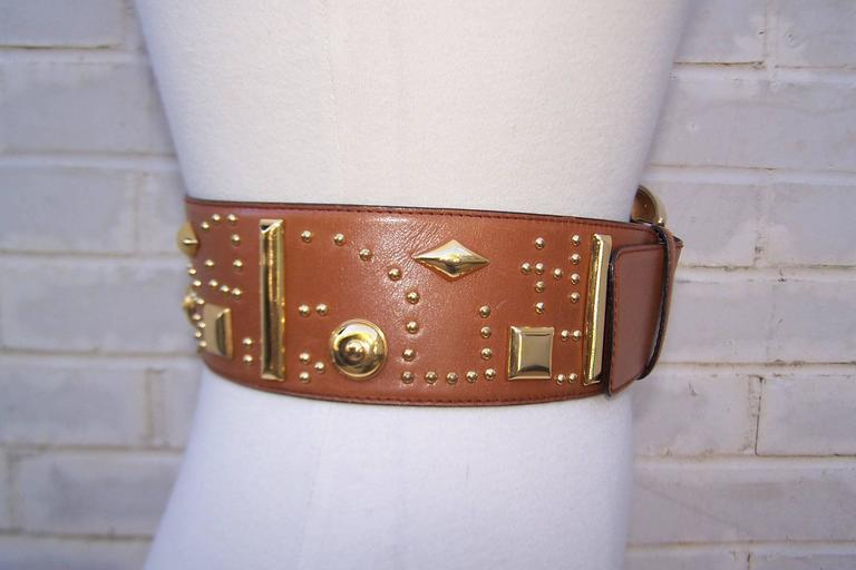 Brown Gold Studded 1980's Escada Camel Leather Wide Belt For Sale
