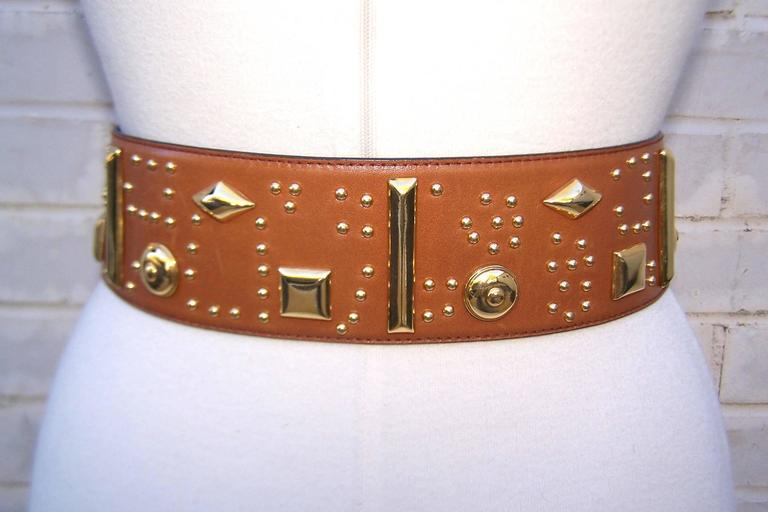 Gold Studded 1980's Escada Camel Leather Wide Belt In Excellent Condition For Sale In Atlanta, GA