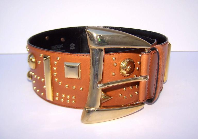 Women's Gold Studded 1980's Escada Camel Leather Wide Belt For Sale