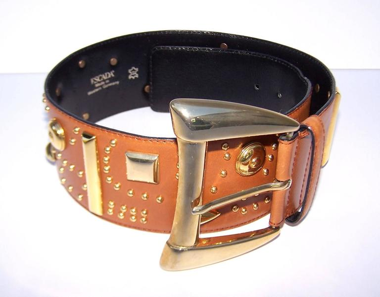 Gold Studded 1980's Escada Camel Leather Wide Belt For Sale 1