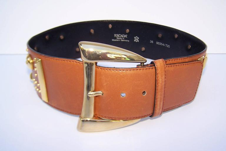 Gold Studded 1980's Escada Camel Leather Wide Belt For Sale 2