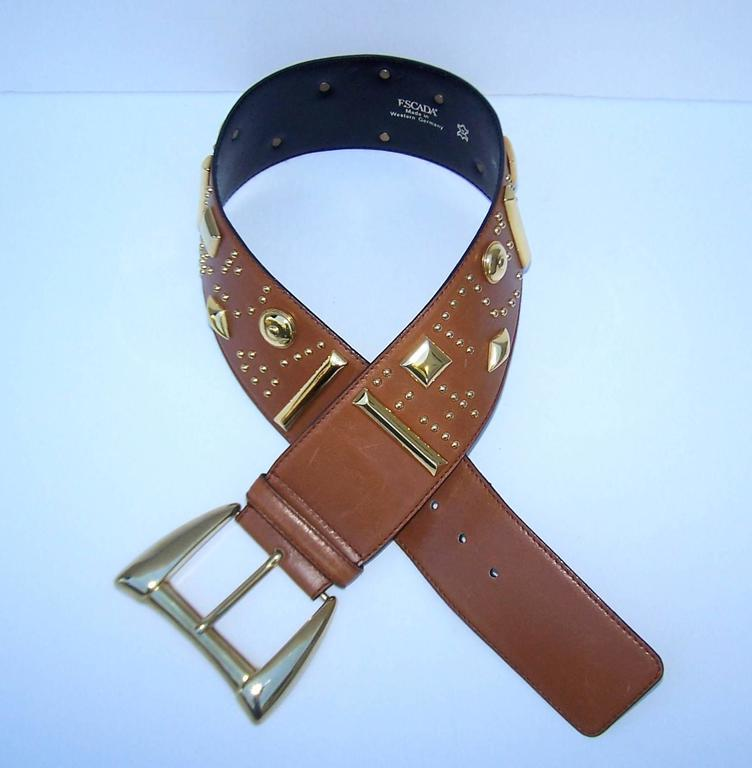 Gold Studded 1980's Escada Camel Leather Wide Belt For Sale 3