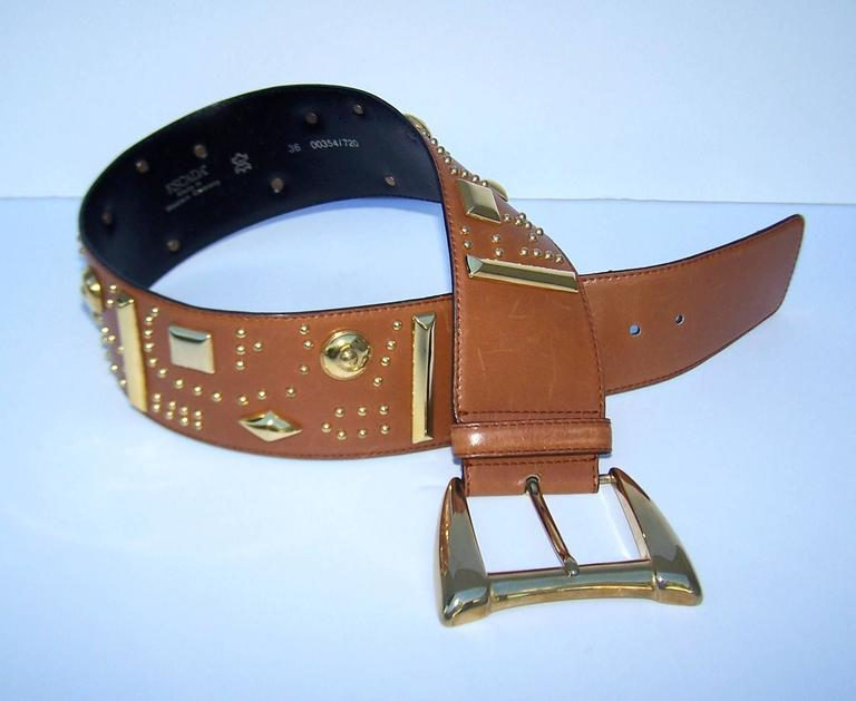 Gold Studded 1980's Escada Camel Leather Wide Belt For Sale 4