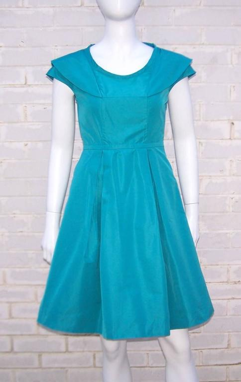 Girlish Miu Miu Aqua Blue Taffeta Party Dress  2