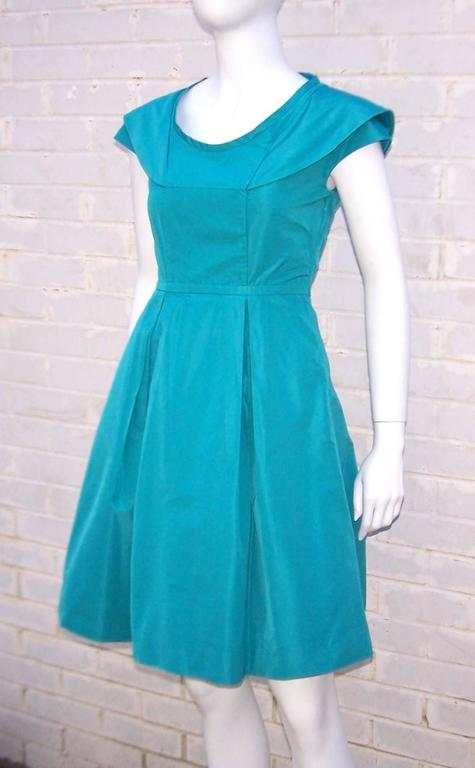 Girlish Miu Miu Aqua Blue Taffeta Party Dress  3