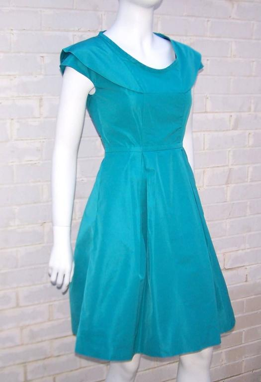 Girlish Miu Miu Aqua Blue Taffeta Party Dress  6