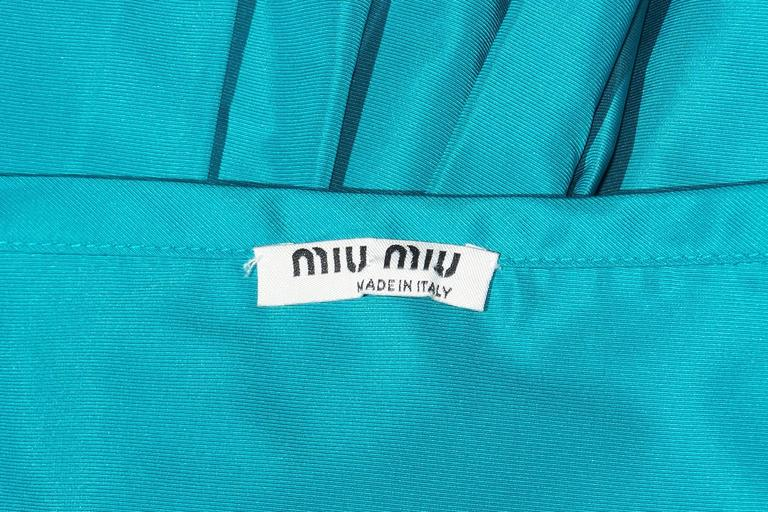 Girlish Miu Miu Aqua Blue Taffeta Party Dress  10